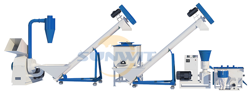 500kg to 1000kg per hour feed production line